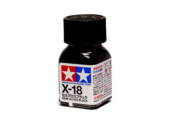 2x Tamiya Model Color Enamel Paint X-18 Semi Gloss Black Net 10ml 80018 CA451
