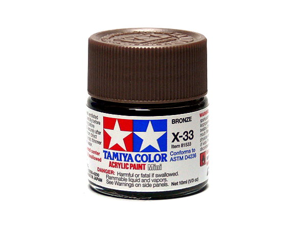 2x Tamiya Model Color Acrylic Paint X-33 Bronze Net 10ml 81533 CA383