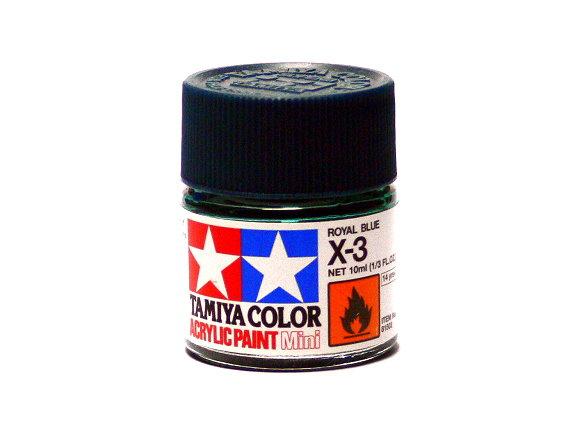 2x Tamiya Model Color Acrylic Paint X-3 Royal Blue Net 10ml 81503 CA407