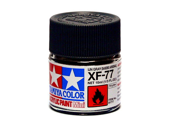 2x Tamiya Color Acrylic Paint XF-77 IJN Grey (SASEBO ARSENAL) 10ml 81777 CA283