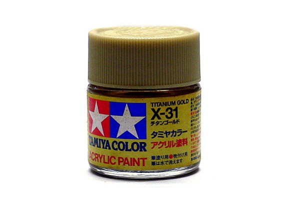 2x Tamiya Model Color Acrylic Paint X-31 Titanium Gold Net 23ml 81031 CA413
