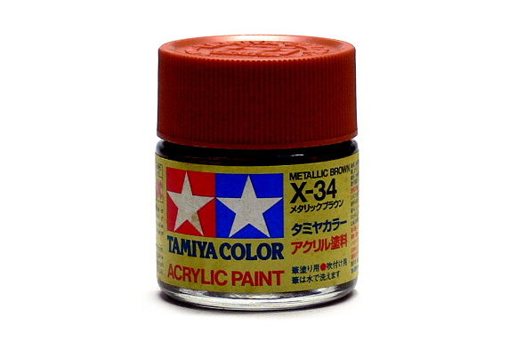 2x Tamiya Model Color Acrylic Paint X-34 Metallic Brown Net 23ml 81034 CA410