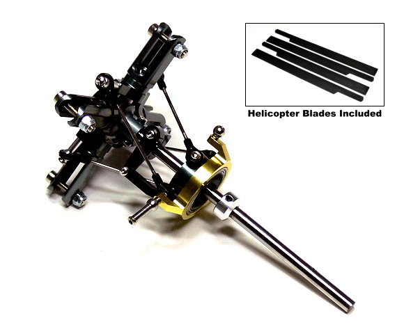 Flybarless Metal Main Rotor Head & 4 Blades for Align T-REX 450 Helicopter RH420