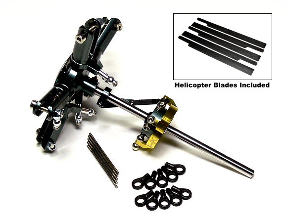 Flybarless Metal Main Rotor Head & 5 Blades for Align T-REX 450 Helicopter RH400
