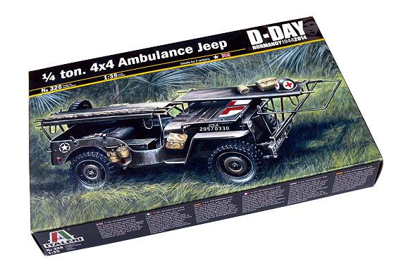 ITALERI Military Model 1/35 0.25 ton. 4x4 Ambulance Jeep D-Day Hobby 326 T0326