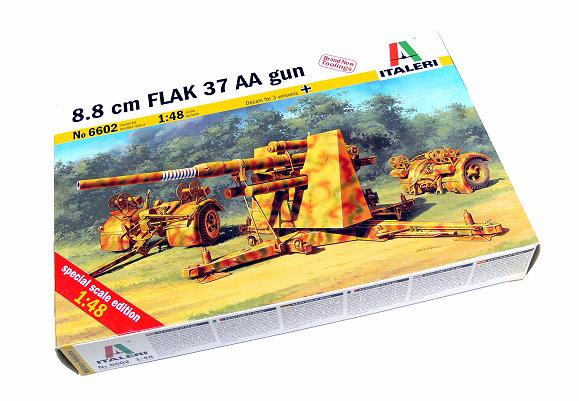 ITALERI Military Model 1/48 8.8cm FLAK 37 AA gun Scale Hobby 6602 T6602