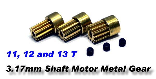 RC Model 3.17mm 11, 12 and 13T R/C Hobby Metal Motor Gear CA100