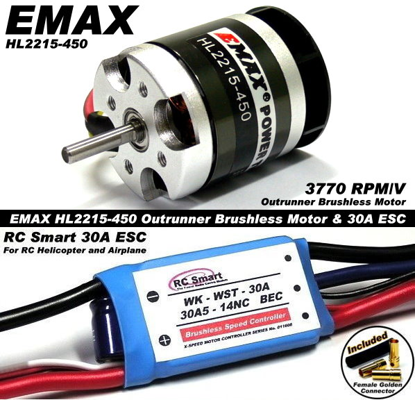 EMAX RC Model 3770 Outrunner Brushless Motor & 30A ESC Speed Controller CA034