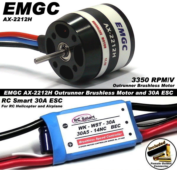 EMGC RC Model 3350 Outrunner Brushless Motor & 30A ESC Speed Controller CA036