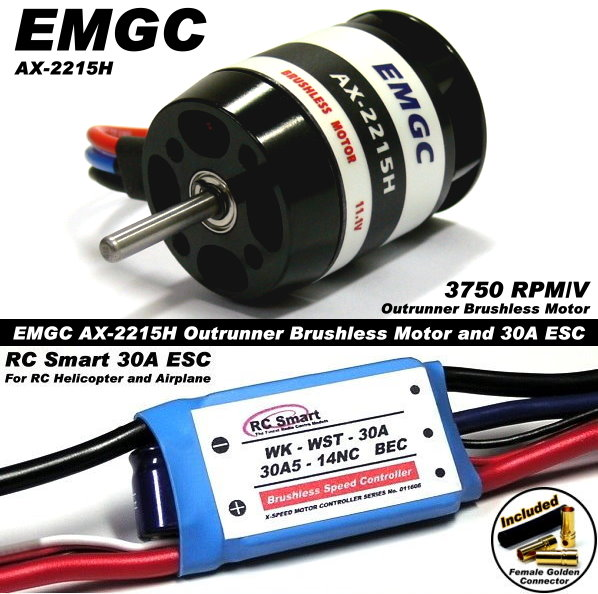 EMGC RC Model 3750 Outrunner Brushless Motor & 30A ESC Speed Controller CA035