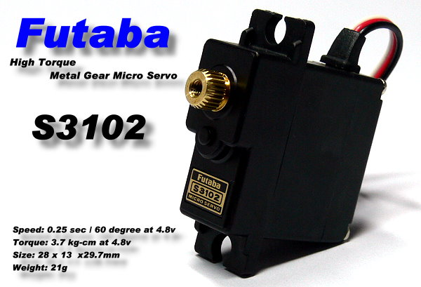 Futaba RC Model S3102 Metal Gear R/C Hobby Micro Servo for RC Glider