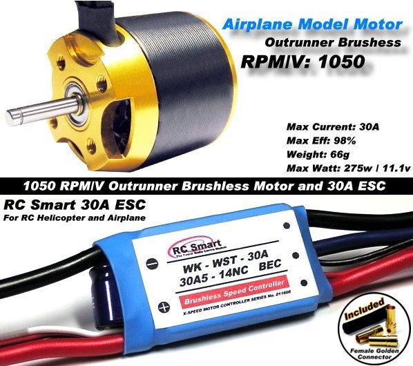 RC Model 1050 KV Outrunner Brushless Motor & R/C 30A ESC Speed Controller CA048