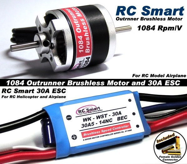 RC Model 1084 KV Outrunner Brushless Motor & R/C 30A ESC Speed Controller CA041
