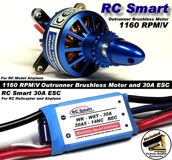 RC Model 1160 KV Outrunner Brushless Motor & R/C 30A ESC Speed Controller CA053