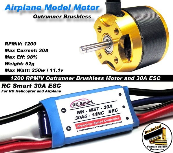 RC Model 1200 KV Outrunner Brushless Motor & R/C 30A ESC Speed Controller CA049