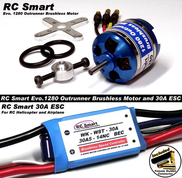 RC Model 1280 KV Outrunner Brushless Motor & R/C 30A ESC Speed Controller CA022