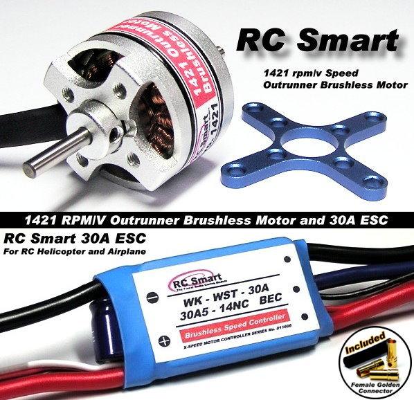 RC Model 1421 KV Outrunner Brushless Motor & R/C 30A ESC Speed Controller CA042