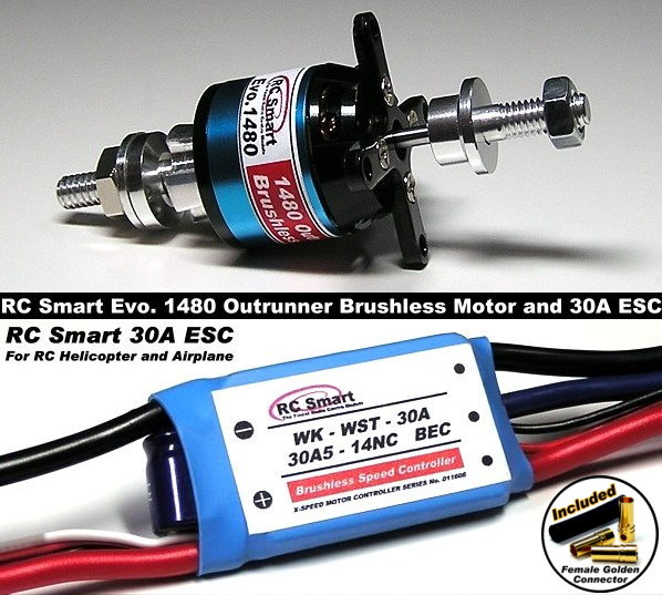RC Model 1480 KV Outrunner Brushless Motor & R/C 30A ESC Speed Controller CA031