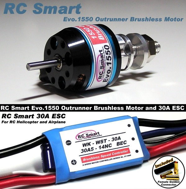 RC Model 1550 KV Outrunner Brushless Motor & R/C 30A ESC Speed Controller CA032