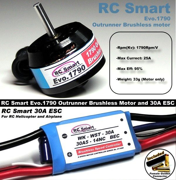 RC Model 1790 KV Outrunner Brushless Motor & R/C 30A ESC Speed Controller CA033
