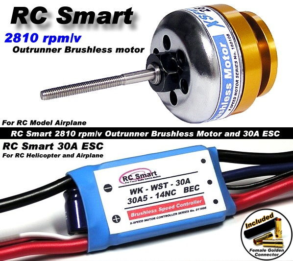 RC Model 2810 KV Outrunner Brushless Motor & R/C 30A ESC Speed Controller CA025