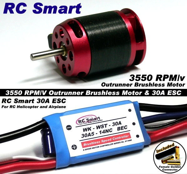 RC Model 3550 KV Outrunner Brushless Motor & R/C 30A ESC Speed Controller CA030