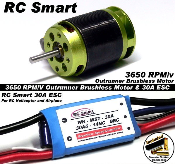 RC Model 3650 KV Outrunner Brushless Motor & R/C 30A ESC Speed Controller CA029