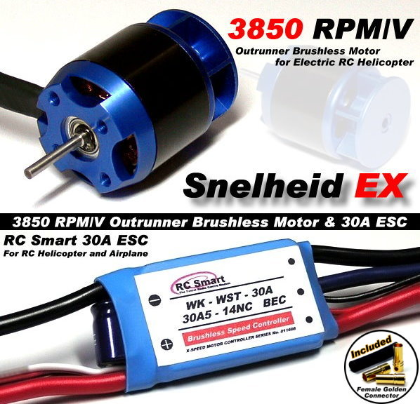 RC Model 3850 KV Outrunner Brushless Motor & R/C 30A ESC Speed Controller CA028