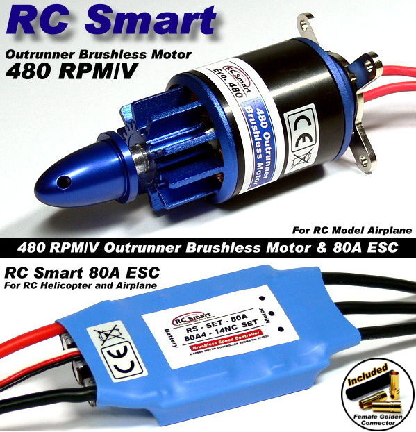 RC Model 480 KV Outrunner Brushless Motor & R/C 80A ESC Speed Controller CA050