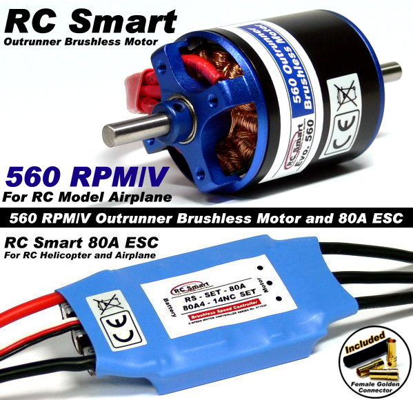 RC Model 560 KV Outrunner Brushless Motor & R/C 80A ESC Speed Controller CA037