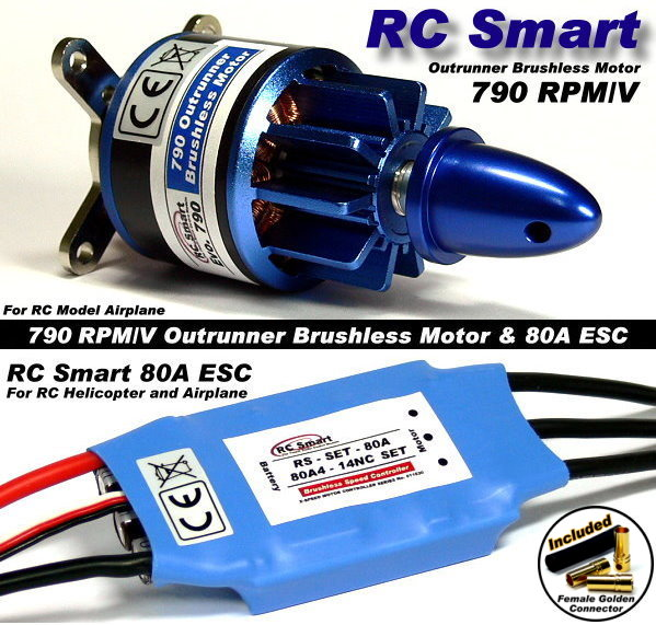 RC Model 790 KV Outrunner Brushless Motor & R/C 80A ESC Speed Controller CA051