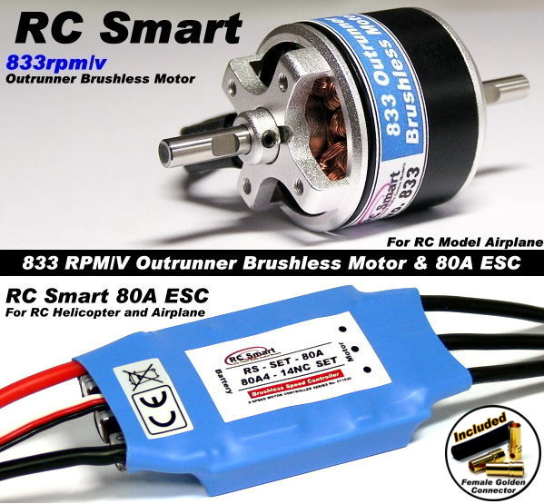 RC Model 833 KV Outrunner Brushless Motor & R/C 80A ESC Speed Controller CA038