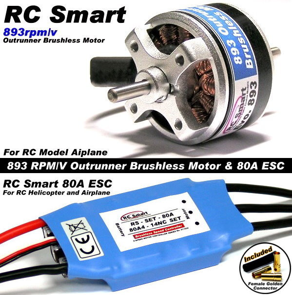 RC Model 893 KV Outrunner Brushless Motor & R/C 80A ESC Speed Controller CA039