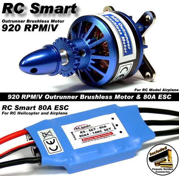RC Model 920 KV Outrunner Brushless Motor & R/C 80A ESC Speed Controller CA052