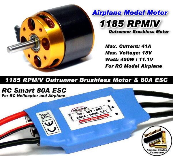 RC Model 1185 KV Outrunner Brushless Motor & R/C 80A ESC Speed Controller CA044