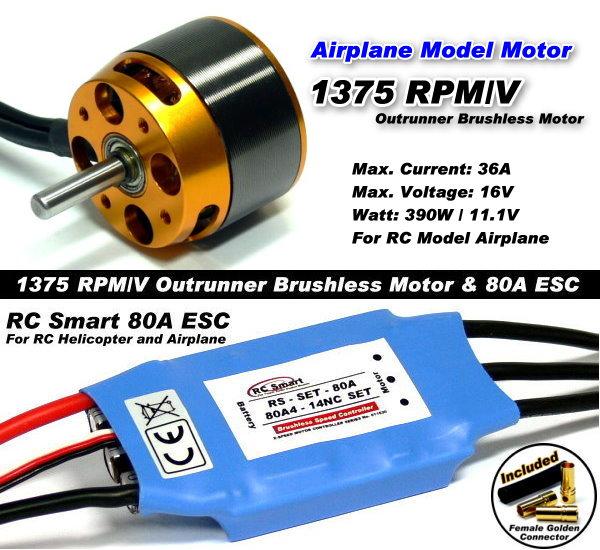 RC Model 1375 KV Outrunner Brushless Motor & R/C 80A ESC Speed Controller CA045