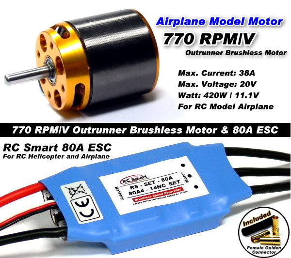RC Model 770 KV Outrunner Brushless Motor & R/C 80A ESC Speed Controller CA043