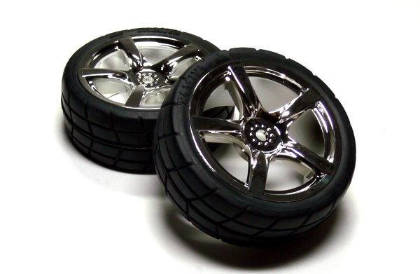 Tamiya RC Model 5-Spoke Wheels & Radial Tires (2pcs) 53955