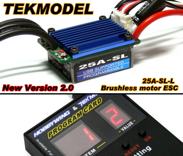 HOBBYWING EZRUN TEKMODEL RC Brushless Motor 25A-L ESC & Program Card CA067