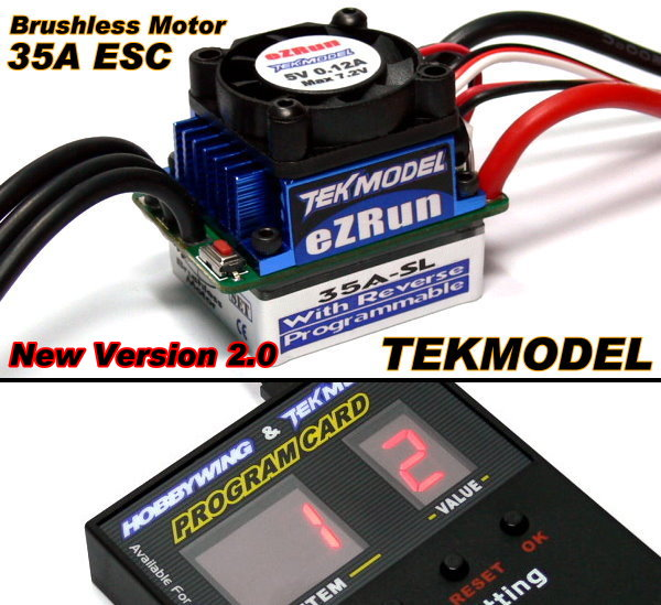 HOBBYWING EZRUN TEKMODEL RC Brushless Motor 35A ESC & Program Card CA066