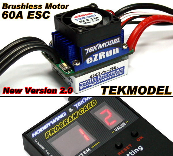 HOBBYWING EZRUN TEKMODEL RC Brushless Motor 60A ESC & Program Card CA065