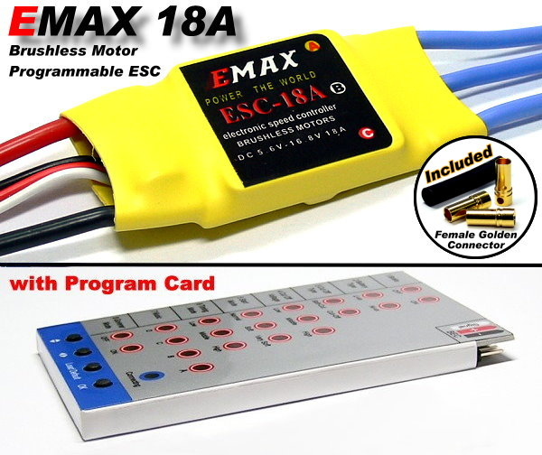 HOBBYWING EMAX 18A RC Brushless Motor ESC Speed Controller & Program Card CA077