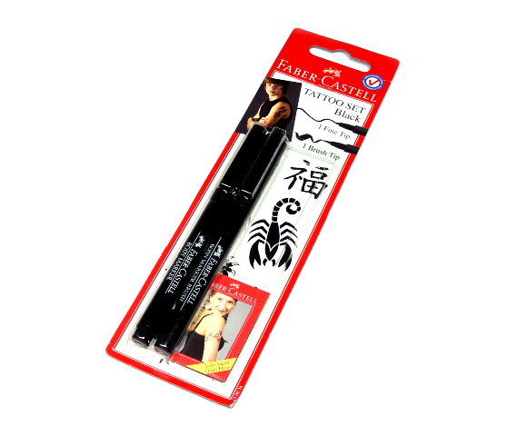 Faber Castell Body Art Tatoo 2 Body Marker Black Set 150034 PB464