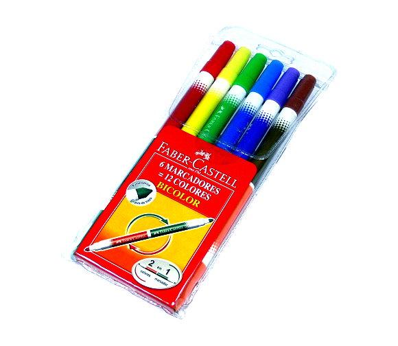 Faber Castell Colour Markers Bicolour Pens Wallet 6 150606 PB476