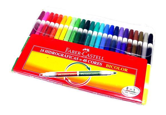 Faber Castell Colour Markers Bicolour Pens Wallet 24 150624 PB480