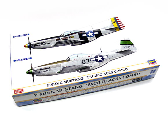 Hasegawa Aircraft Model 1/72 P-51D/K Mustang Pacific Aces Combo 02020 H2020