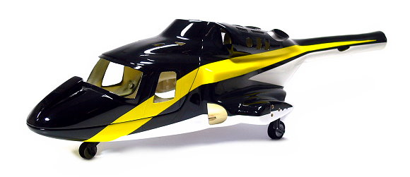 HELIBODY Airwolf 450 Helicopter Retract Black/Yellow Glass Fiber Fuselage AW006