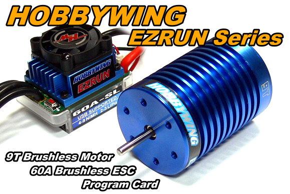 HOBBYWING EZRUN 4300 KV 9T Brushless Motor & 60A ESC Speed Controller ME220
