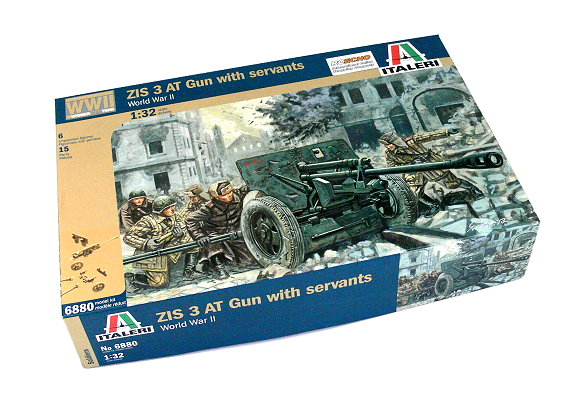 ITALERI Military Model 1/32 World War II ZIS 3 AT Gun with servants 6880 T6880