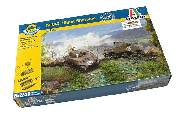 ITALERI Military Model 1/72 M4A3 75mm Sherman Scale Hobby 7518 T7518